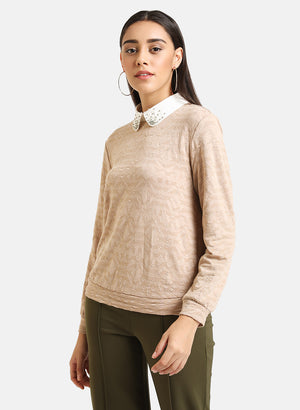 Shirt Collar Embellished Textured Pullover