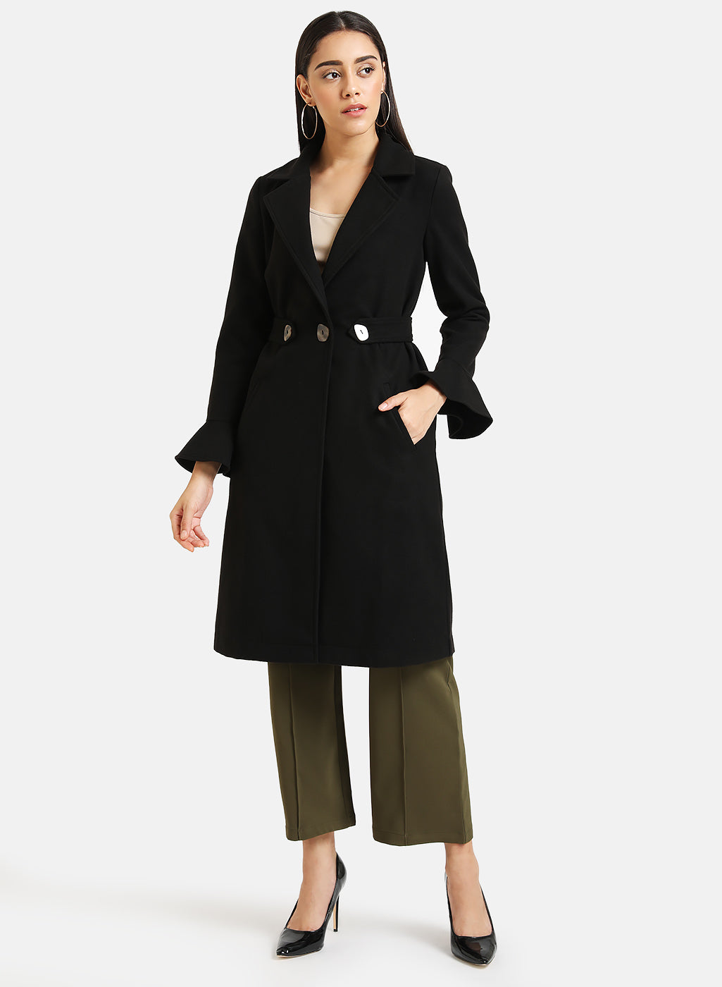 Tab Detailed Long Overcoat