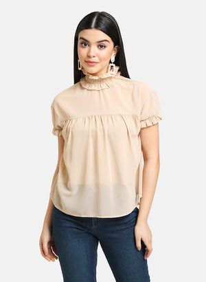 SMOCKED HIGH NECK TOP