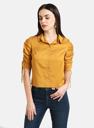 SHIRT WITH DRAWSTRING DETAILED SLEEVE