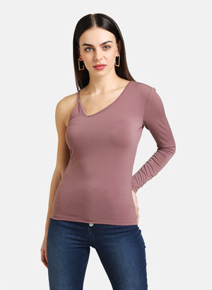 ONE SHOULDER FULL SLEEVES FITTED TOP