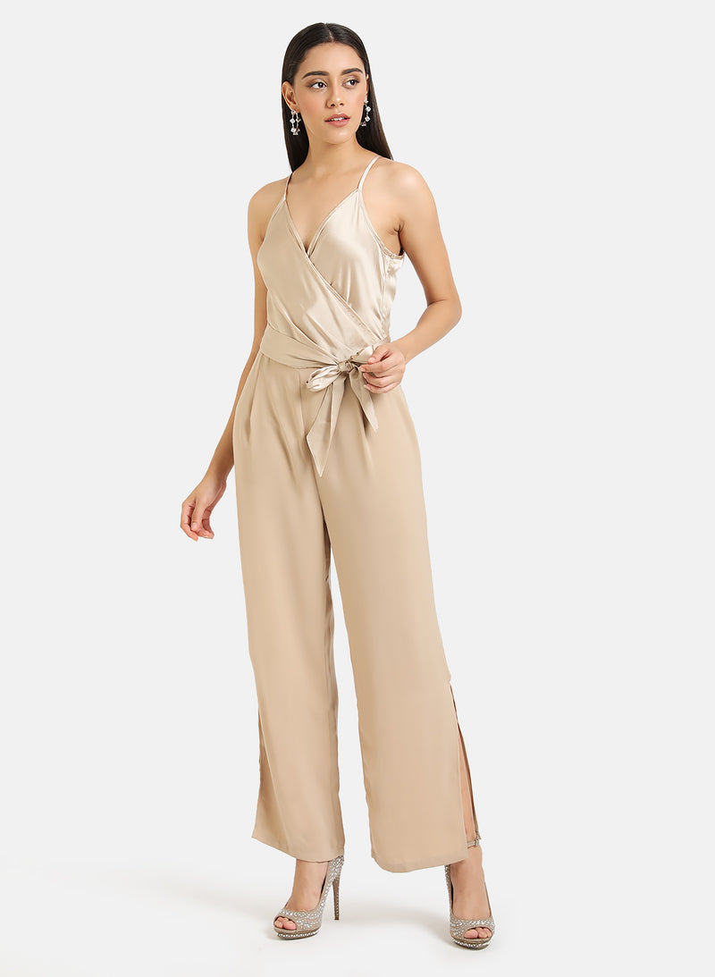 Front Wrap Detail Satin Jumpsuit