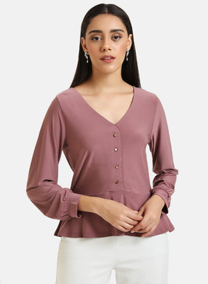 Peplum Jersey Top With Front Button Detail