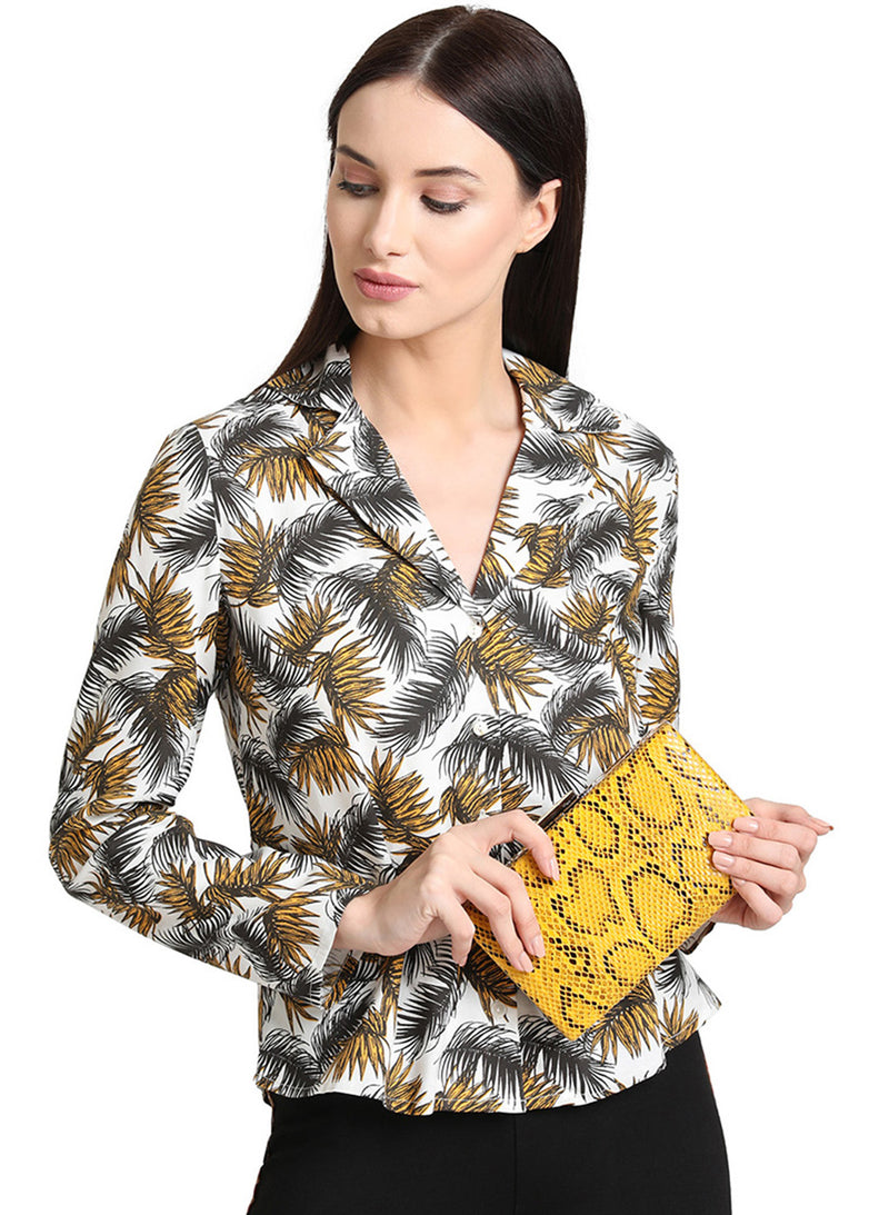 Snake Print Clutch Bag With Earring Set