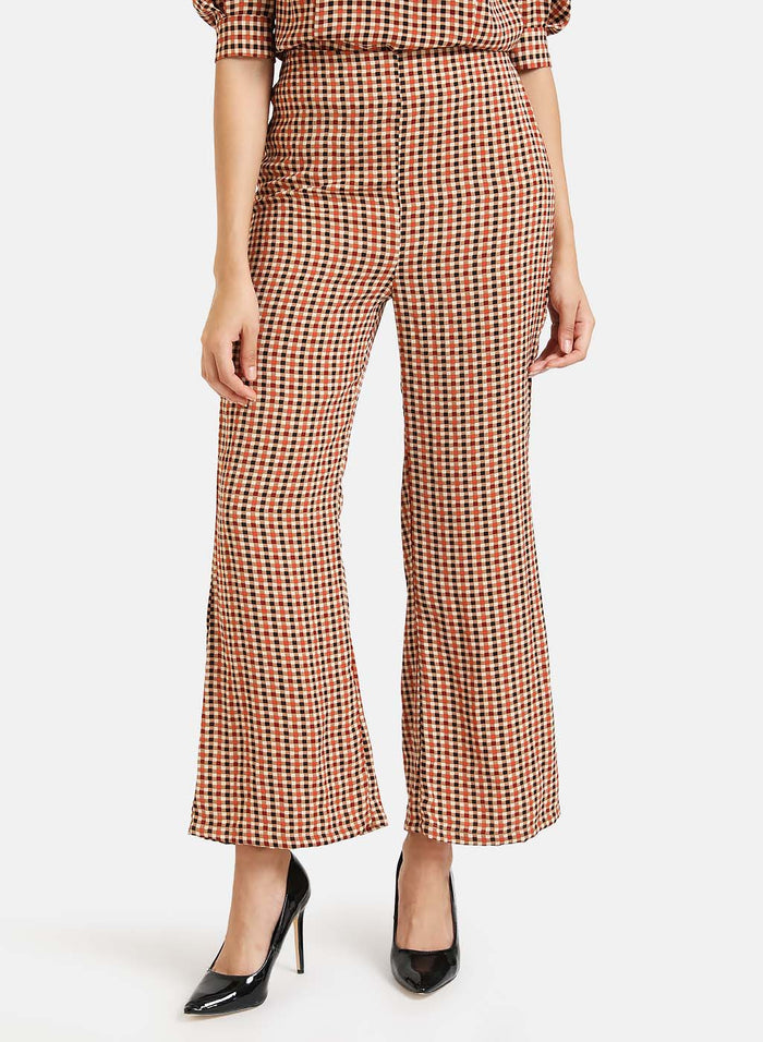 Checked Flowy Trousers