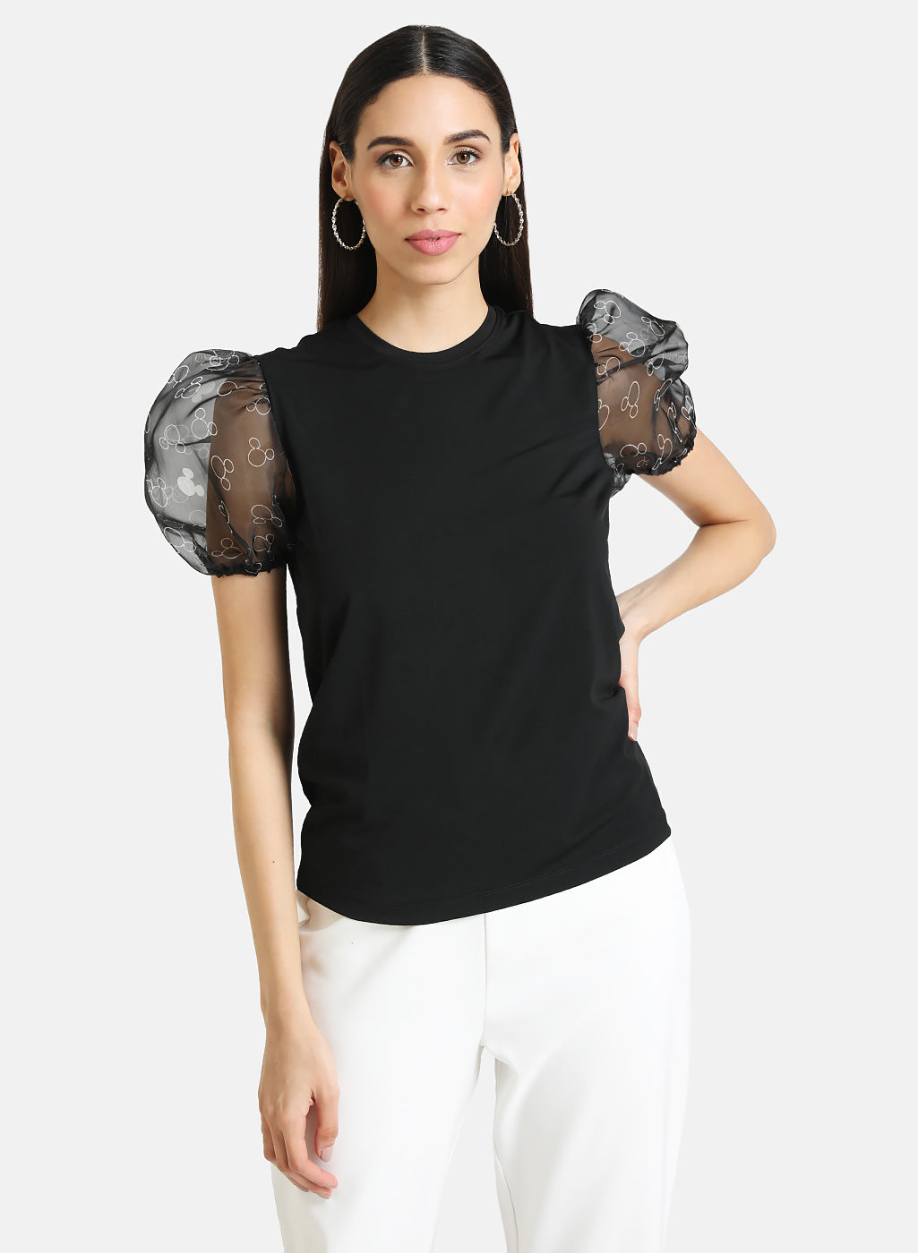Mickey Mouse © Disney Top with Printed Organza Sleeves