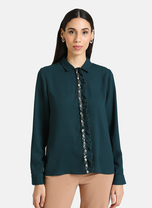 SHIRT WITH SEQUIN PLACKET