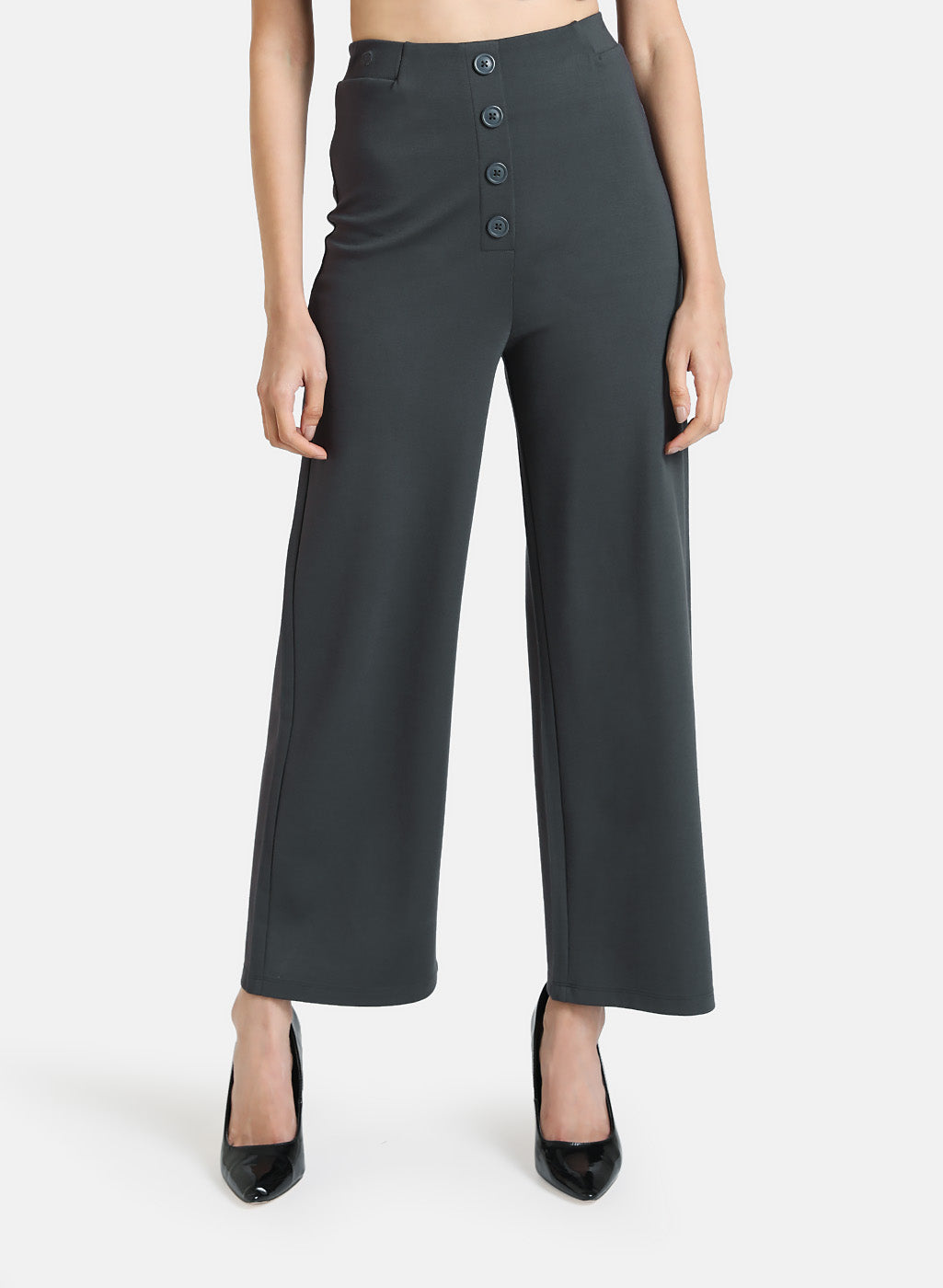 STRAIGHT FIT TROUSERS WITH BUTTON DETAIL