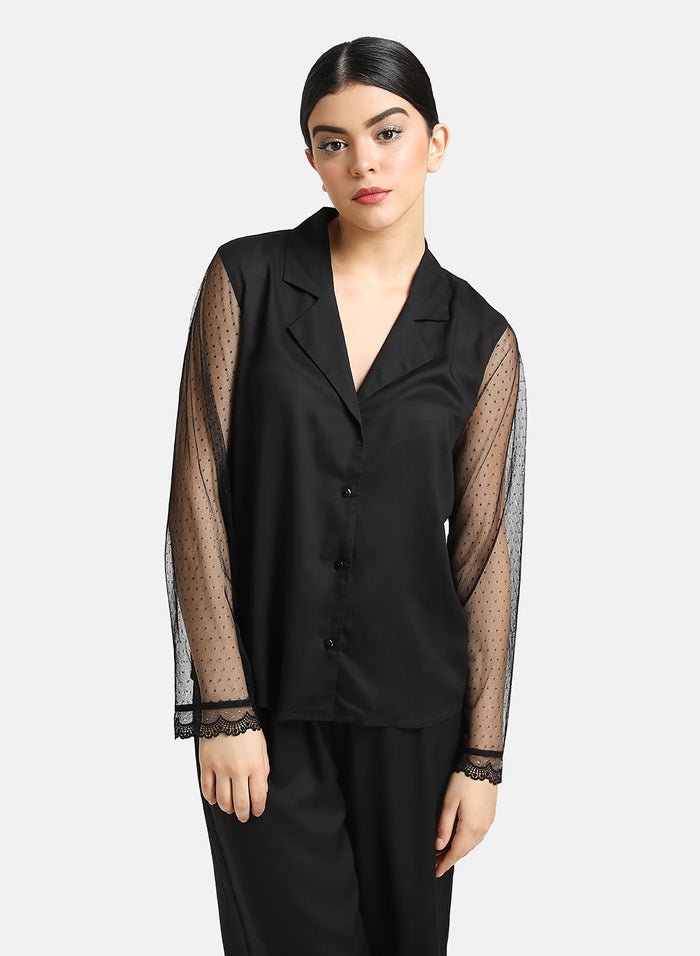 Set of Mesh Detailed Shirt And Pajama