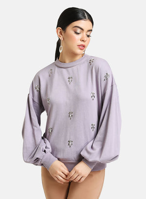 SHIRT COLLAR EMBELLISHED PULLOVER