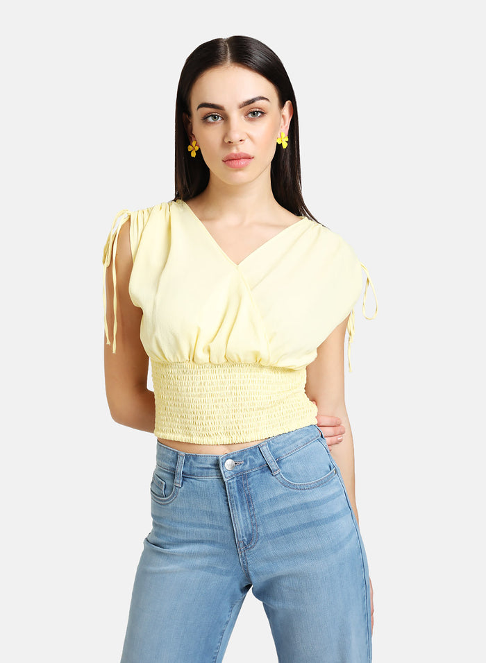 OVERLAP SMOCKED CROP TOP