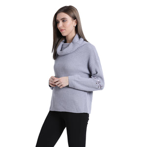 Blanc Pale Foldover Neck Sweater