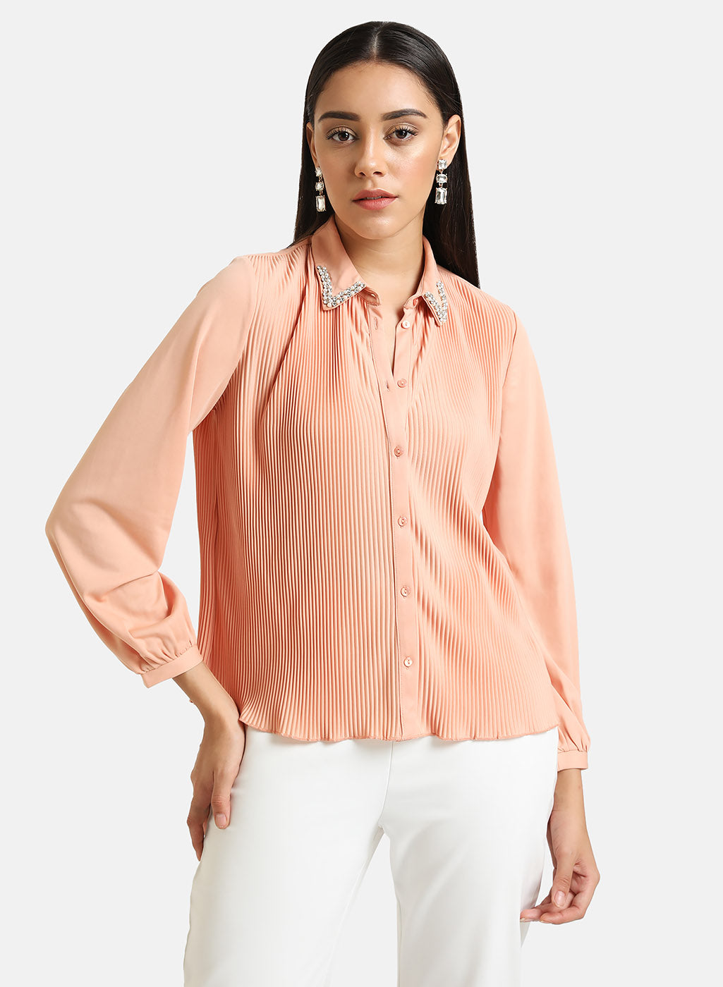 Pleated Shirt With Embellished Collar Tip
