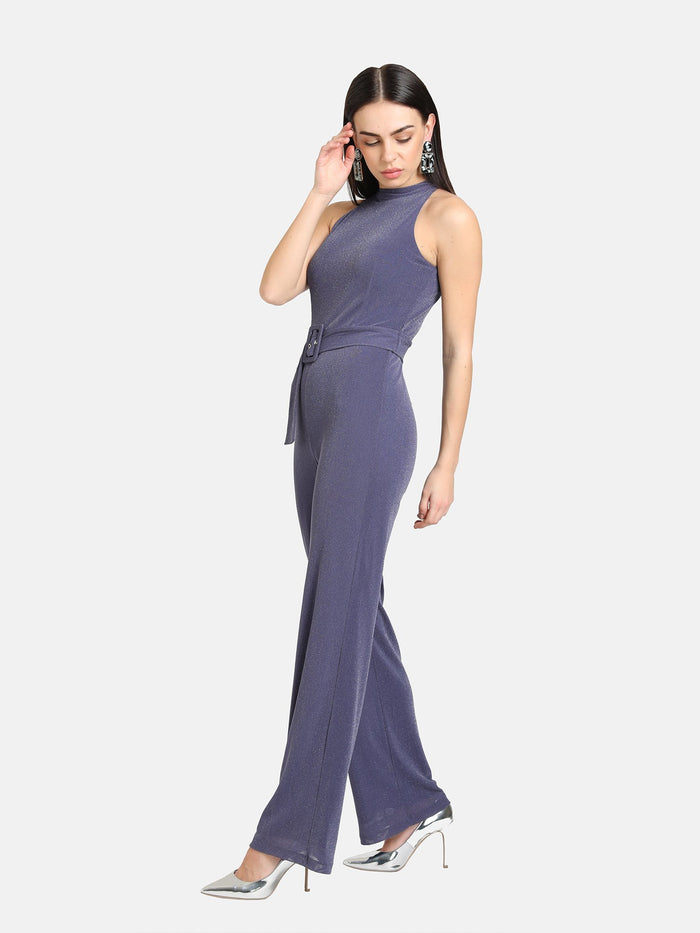 HALTER NECK JUMPSUIT WITH BELT DETAIL - 2 PC. SET
