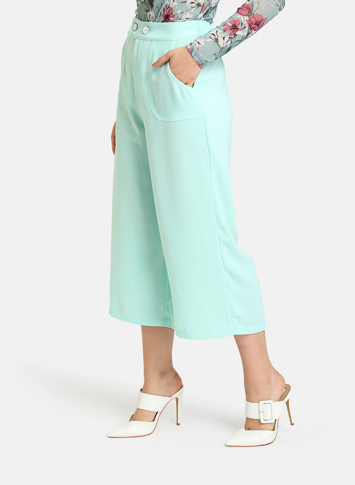 FLARED CULOTTES WITH POCKET DETAIL
