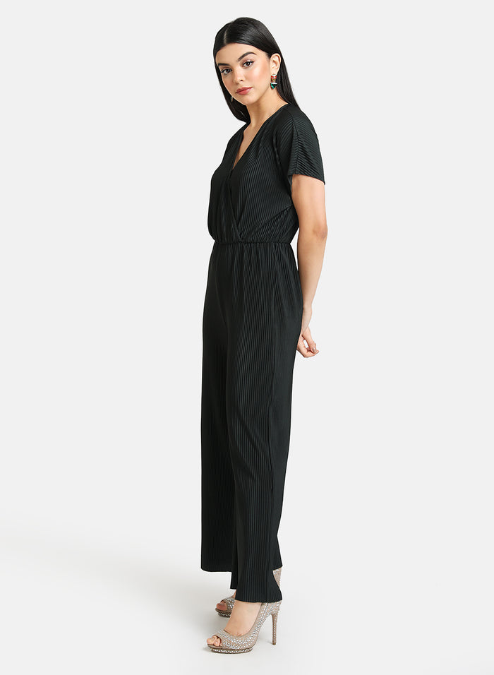 PLEATED JUMPSUIT WITH DROP SHOULDER