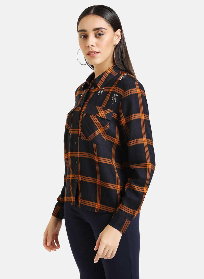 Checked Shirt With Embellishment