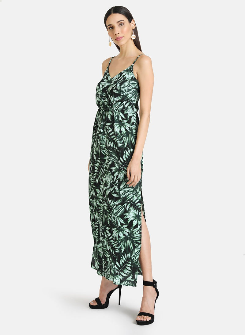 SPEGHATTI STRAP PRINTED MAXI DRESS