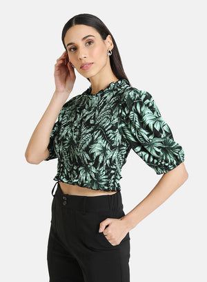 TROPICAL PRINT SMOCKED TOP