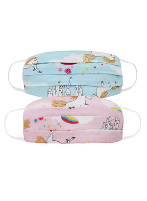 KIDS PRINTED FACE MASK COMBO OF 2  (UNICORN PRINT )