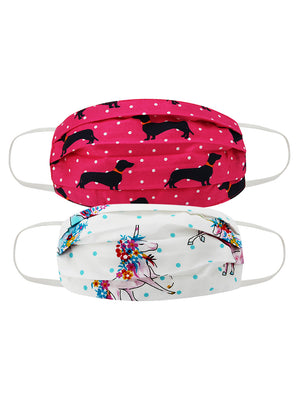 KIDS PRINTED FACE MASK COMBO OF 2  (DOG PRINT )