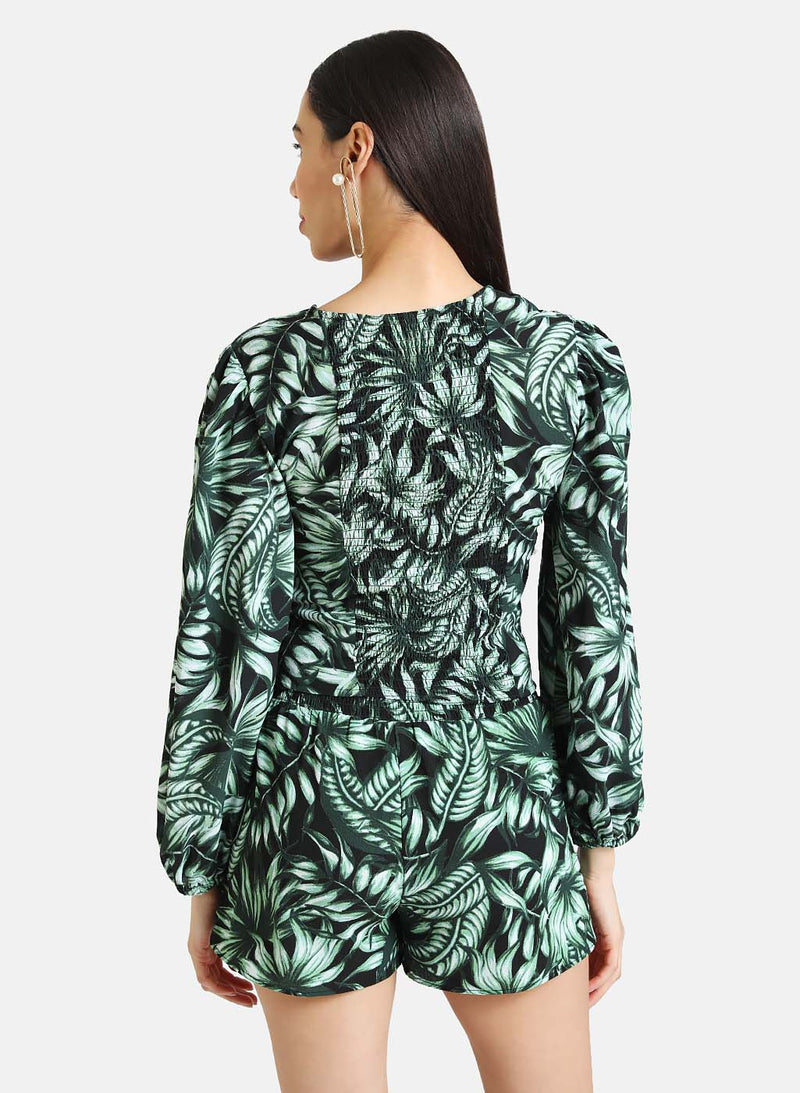 TROPICAL PRINT TOP WITH FRONT KNOT DETAIL