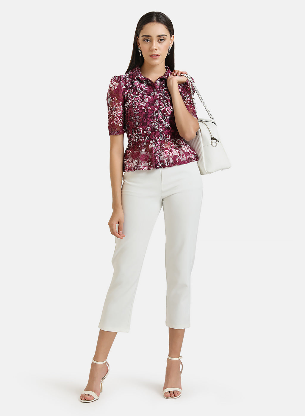 STRETCH LACE SHIRT WITH PEPLUM