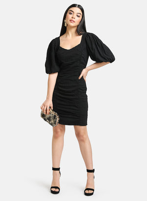 RUCHED BODYCON DRESS WITH PUFF SLEEVES