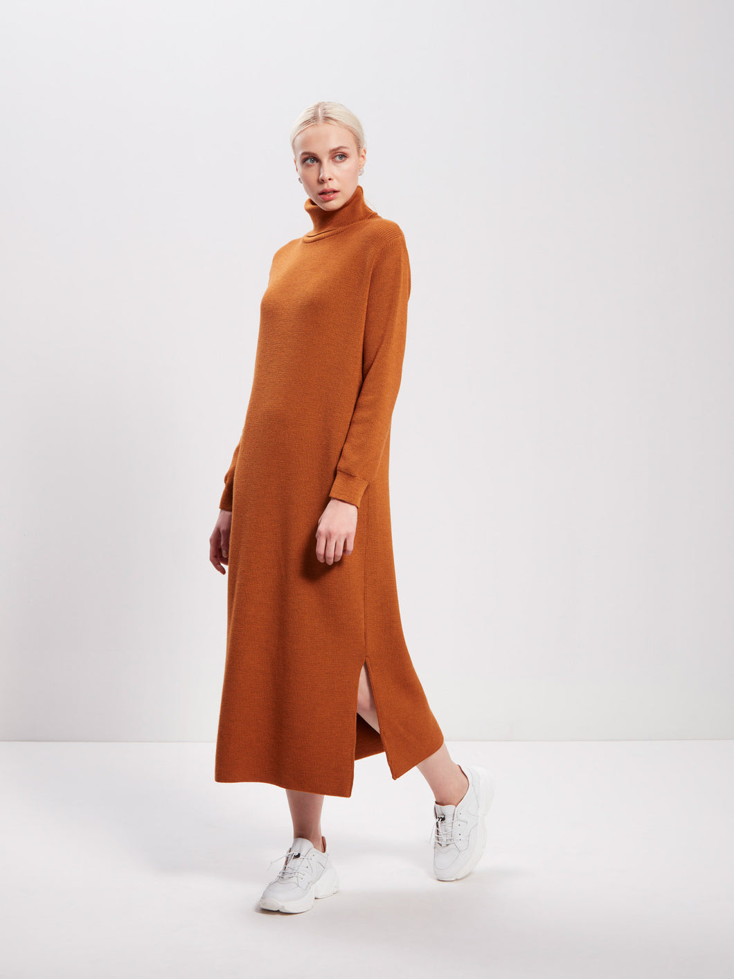 Hug Me Softly Knit Dress, Cognac (Store Tampere)