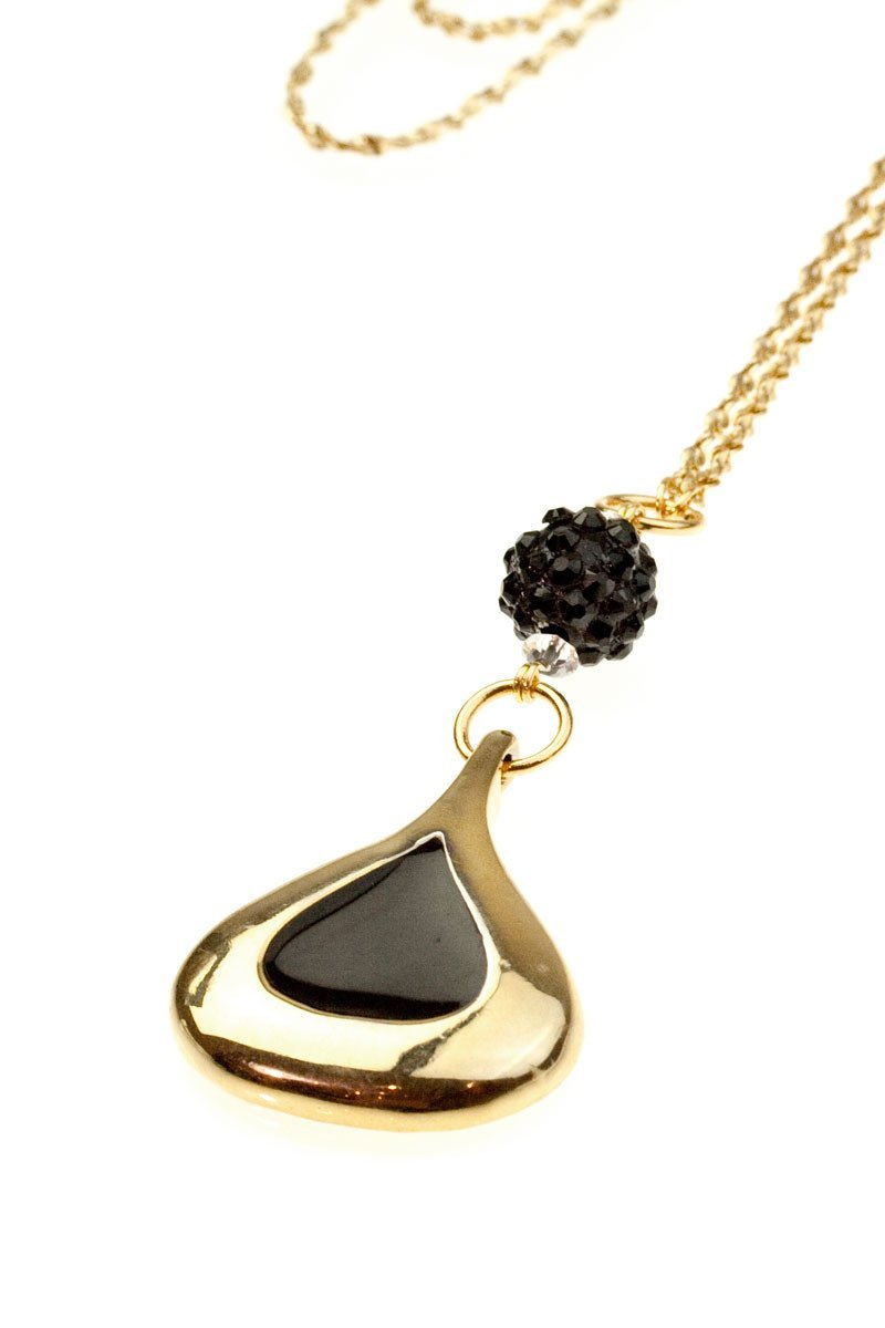 ANDIE vintage gold black enamel pendant necklace-GREEN BIJOU