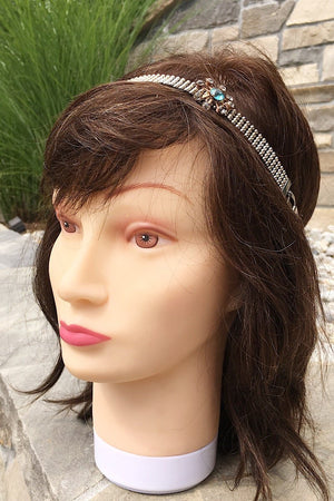 ARIANNA 3 in 1 vintage silver mesh teal flower hair head band-GREEN BIJOU