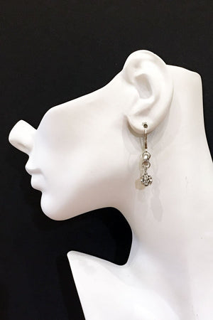 CLEO EARRINGS vintage silver rhinestone balls -