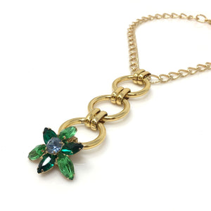 ELWOOD vintage gold and green flower pendant -