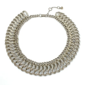 HOLLOWAY chunky silver chain necklace-GREEN BIJOU