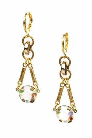 PACINI EARRINGS vintage crystals and gold rondelles -