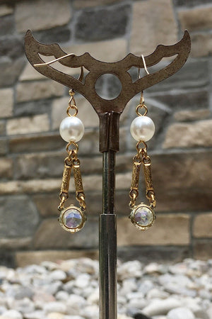 PACINI EARRINGS vintage crystals & white pearls -