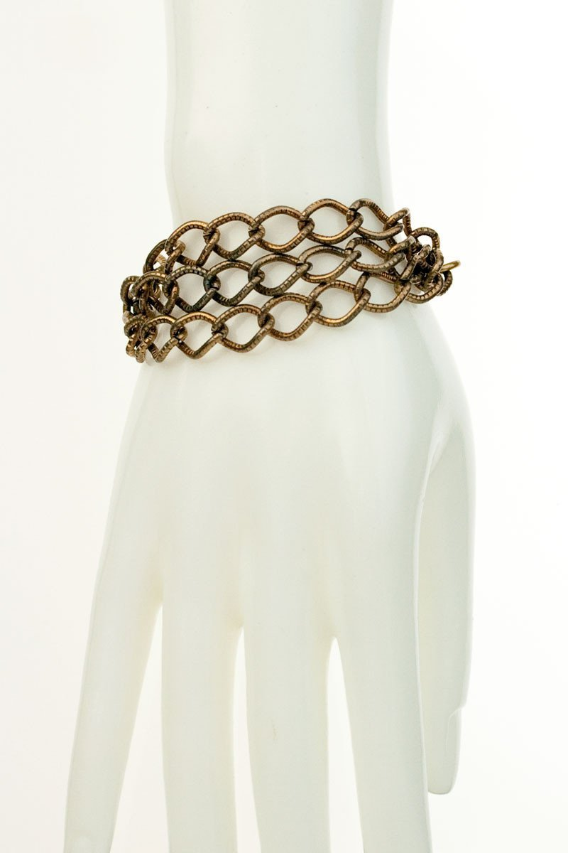 QUINCY BRACELET silver leaf & brass chains-GREEN BIJOU