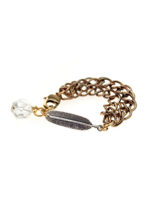QUINCY BRACELET silver leaf & brass chains -
