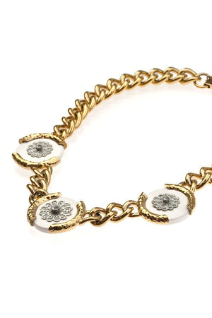 QUINLAN NECKLACE vintage gold & silver flowers -