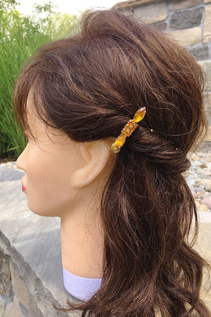 STACEY HAIR BARRETTE vintage yellow topaz crystals gold clip -