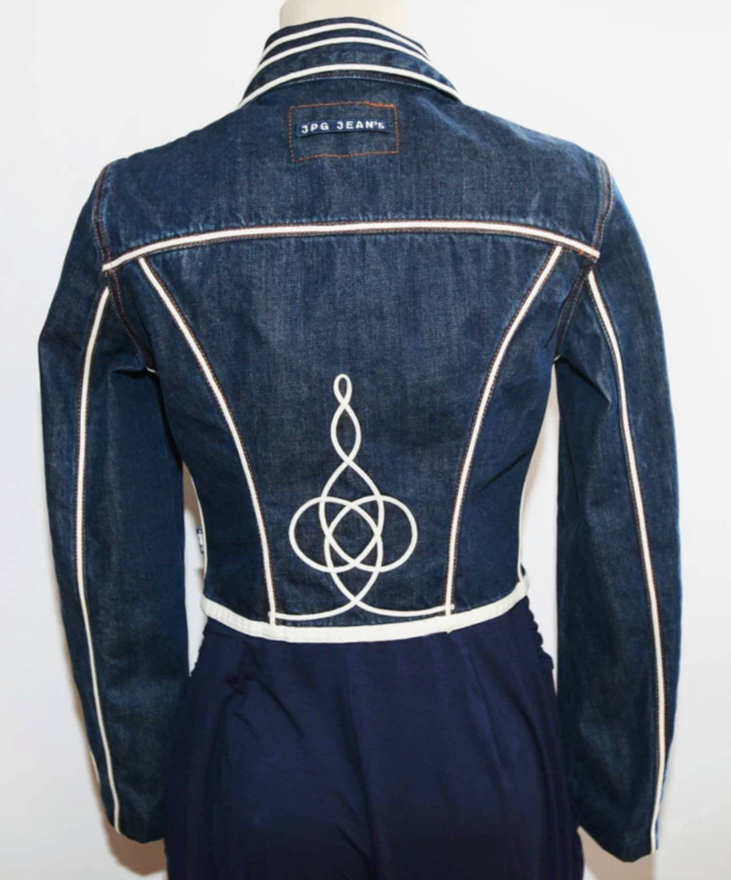 VERY RARE Jean Paul Gaultier Vintage Embroidered Denim Jacket - early 90s