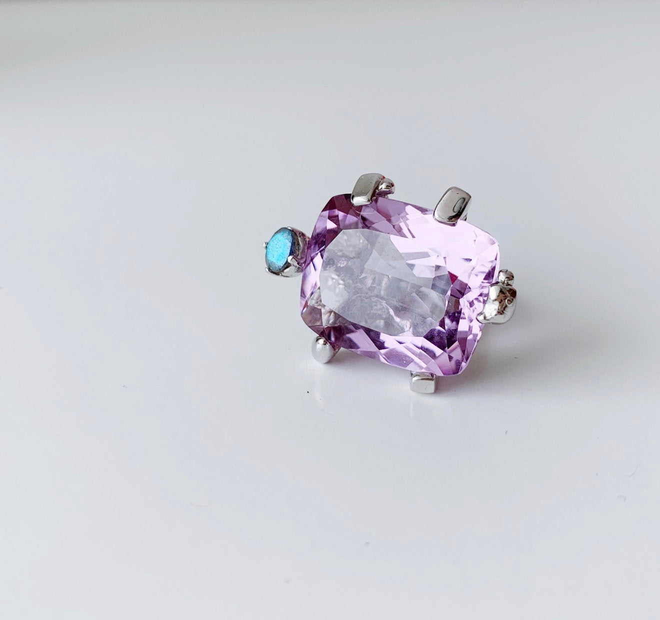 Collector's Christian Lacroix Sterling Silver Turtle Ring with an amethyst