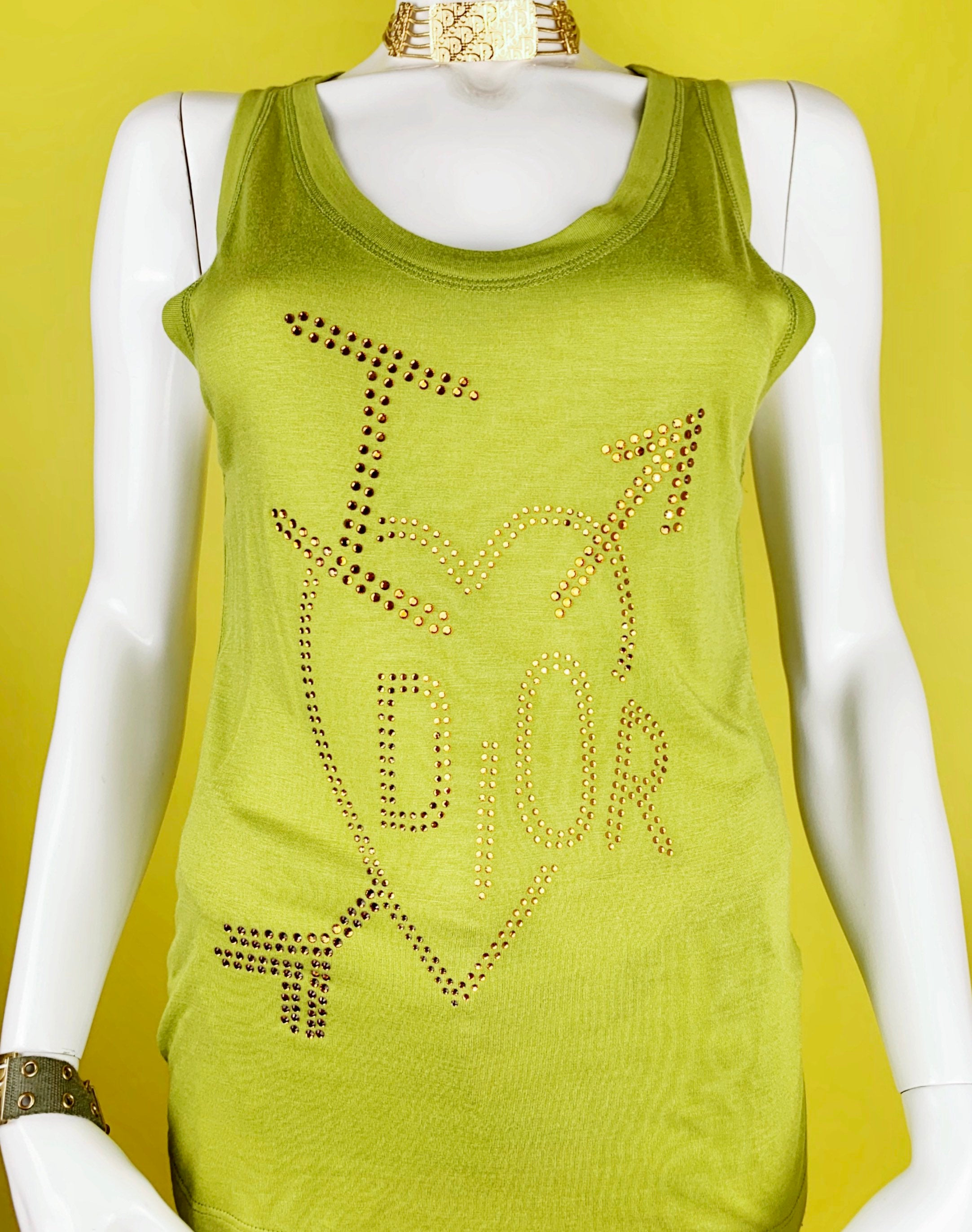 "Dior 2004 ""Skool"" Capsule Collection Tank Top with Swarovski crystals heart element"