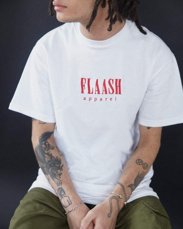 Wavy Logo Tee - White flaash apparel1