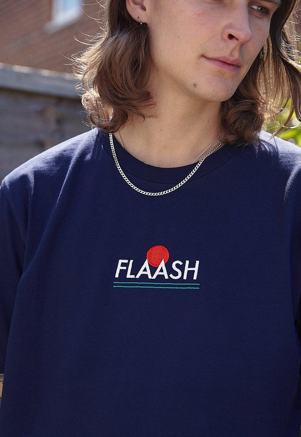 Sports Logo Navy Organic Tee Flaash Apparel