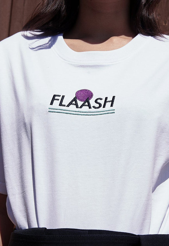 Sports Logo White Organic Tee Flaash Apparel