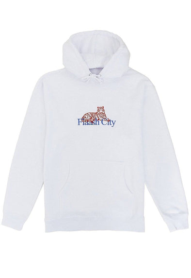 Tiger Corp Embroidered White Hoodie Flaash Apparel