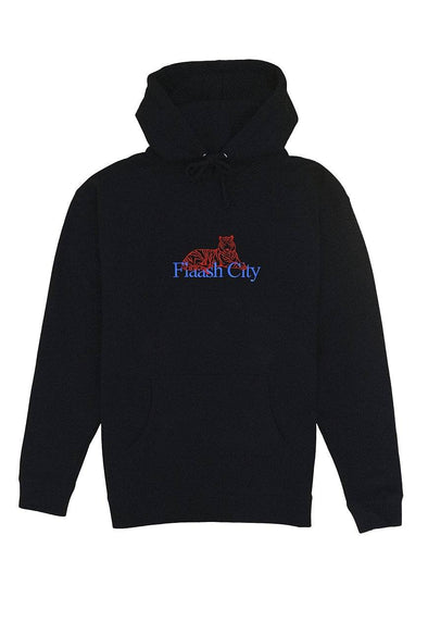 Tiger Corp Embroidered Black Hoodie Flaash Apparel