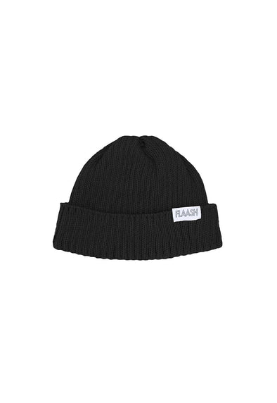 Fisherman Merino Wool Black Beanie Flaash Apparel