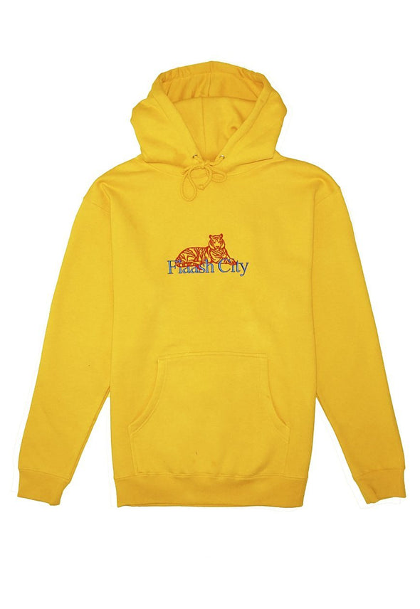 Tiger Corp Embroidered Gold Hoodie Flaash Apparel